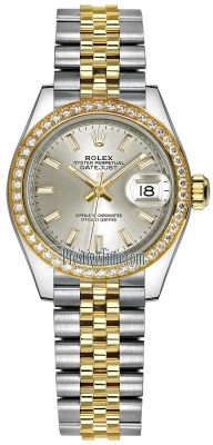 Rolex Lady Datejust 28mm Stainless Steel and Yellow Gold 279383RBR Silver Index Jubilee