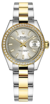 Rolex Lady Datejust 28mm Stainless Steel and Yellow Gold 279383RBR Silver Index Oyster