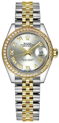 Rolex Lady Datejust 28mm Stainless Steel and Yellow Gold 279383RBR Silver Roman Jubilee