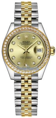 Rolex Lady Datejust 28mm Stainless Steel and Yellow Gold 279383RBR Champagne Diamond Jubilee