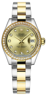 Rolex Lady Datejust 28mm Stainless Steel and Yellow Gold 279383RBR Champagne Diamond Oyster