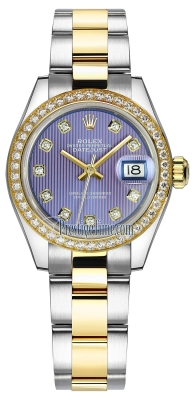 Rolex Lady Datejust 28mm Stainless Steel and Yellow Gold 279383RBR Lavender Diamond Oyster