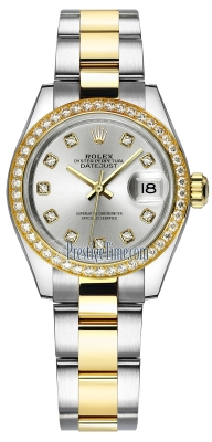 Rolex Lady Datejust 28mm Stainless Steel and Yellow Gold 279383RBR Silver Diamond Oyster