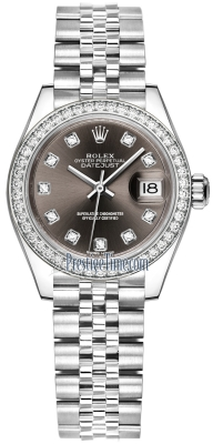 Rolex Lady Datejust 28mm Stainless Steel 279384RBR Dark Grey Diamond Jubilee