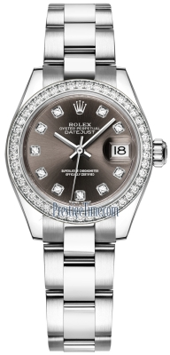 Rolex Lady Datejust 28mm Stainless Steel 279384RBR Dark Grey Diamond Oyster
