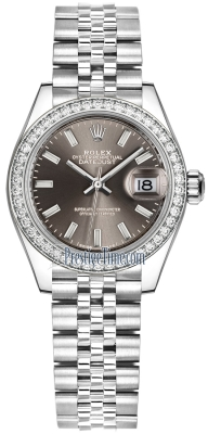 Rolex Lady Datejust 28mm Stainless Steel 279384RBR Dark Grey Index Jubilee