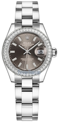 Rolex Lady Datejust 28mm Stainless Steel 279384RBR Dark Grey Index Oyster