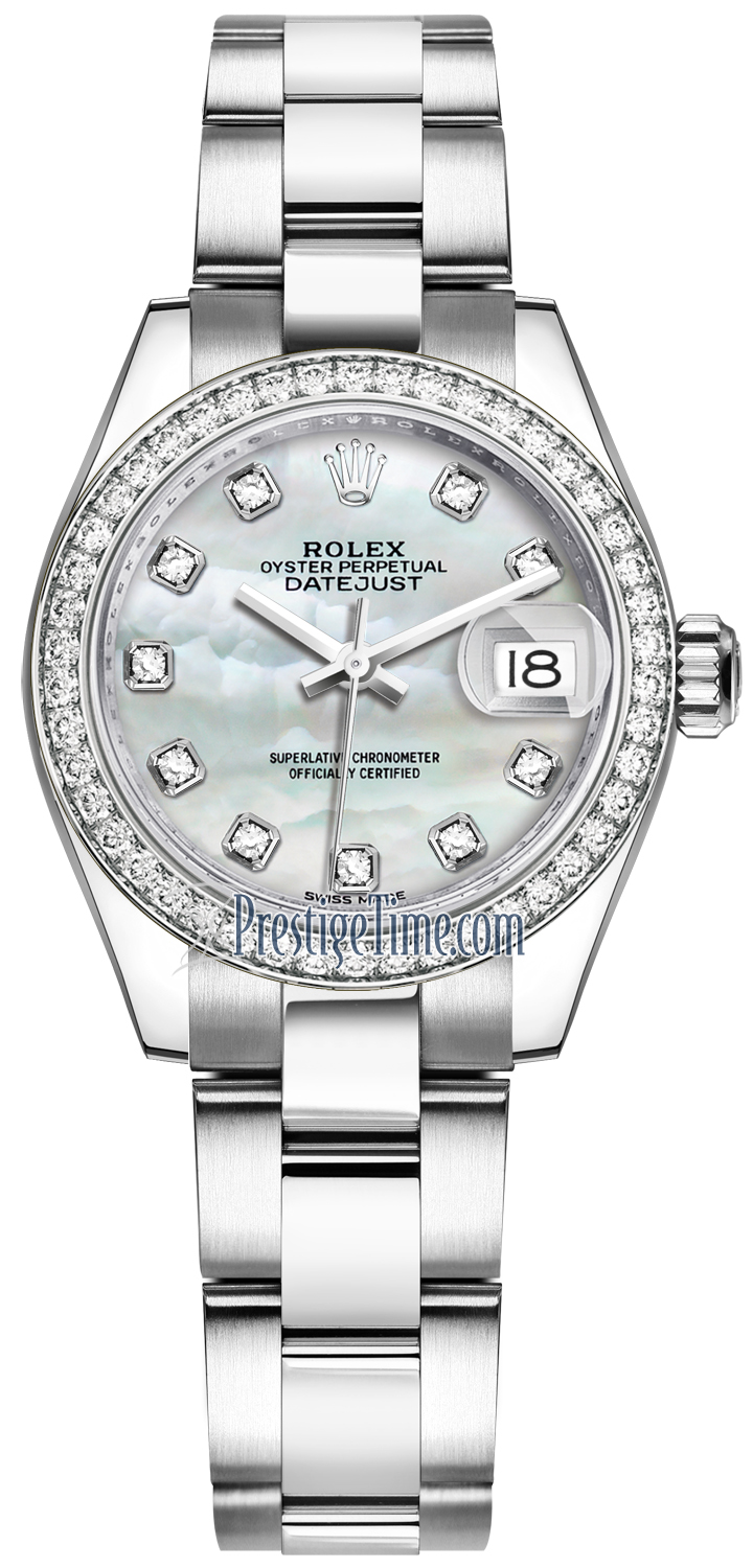 4734e1d0a11 Availability. Rolex Lady Datejust 28mm Stainless Steel Ladies Watch Model  Number: 279384RBR MOP Diamond Oyster