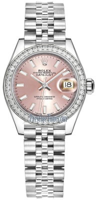 Rolex Lady Datejust 28mm Stainless Steel 279384RBR Pink Index Jubilee