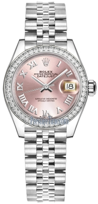 Rolex Lady Datejust 28mm Stainless Steel 279384RBR Pink Roman Jubilee