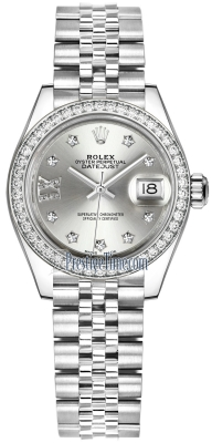Rolex Lady Datejust 28mm Stainless Steel 279384RBR Silver 17 Diamond Jubilee
