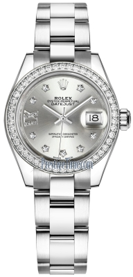 Rolex Lady Datejust 28mm Stainless Steel 279384RBR Silver 17 Diamond Oyster