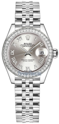 Rolex Lady Datejust 28mm Stainless Steel 279384RBR Silver Roman Jubilee