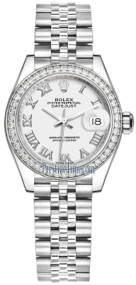 Rolex Lady Datejust 28mm Stainless Steel 279384RBR White Roman Jubilee