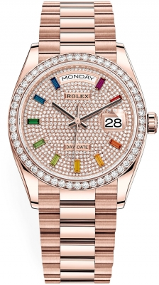 Rolex Day-Date 36mm Everose Gold 128345RBR Pave Rainbow