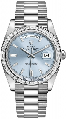 Rolex Day-Date 40mm Platinum 228396TBR Ice Blue Baguette Index