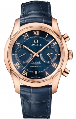 Blue Omega De Ville Co-Axial Chronograph Rose Gold
