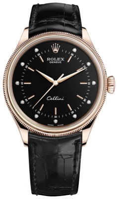 Rolex Cellini Time 39mm 50505 Black Diamond Black Strap