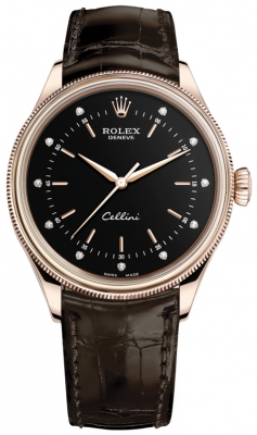 Rolex Cellini Time 39mm 50505 Black Diamond Brown Strap