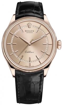 Rolex Cellini Time 39mm 50505 Pink Black Strap