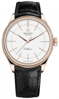 Rolex Cellini Time 39mm 50505 White Black Strap