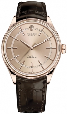 Rolex Cellini Time 39mm 50505 Pink Brown Strap