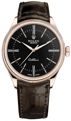 Rolex Cellini Time 39mm 50505 Black Brown Strap