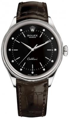 Rolex Cellini Time 39mm 50509 Black Diamond Brown Strap