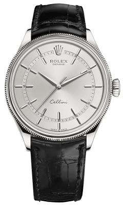 Rolex Cellini Time 39mm 50509 Rhodium Black Strap
