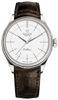 Rolex Cellini Time 39mm 50509 White Brown Strap