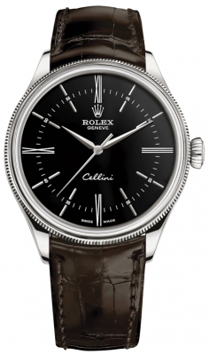 Rolex Cellini Time 39mm 50509 Black Brown Strap