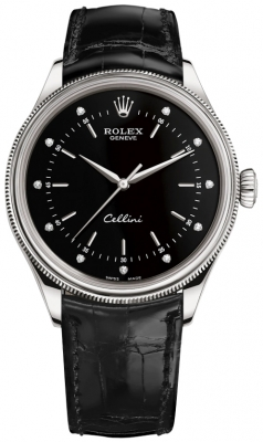 Rolex Cellini Time 39mm 50509 Black Diamond Black Strap