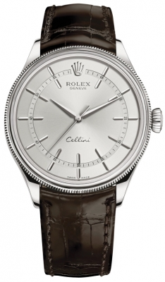 Rolex Cellini Time 39mm 50509 Rhodium Brown Strap