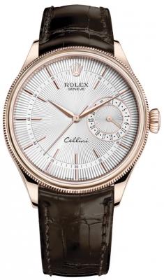Rolex Cellini Date 39mm 50515 Silver Brown Strap