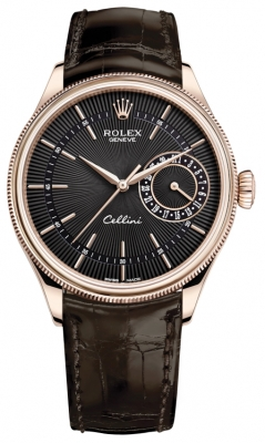 Rolex Cellini Date 39mm 50515 Black Brown Strap