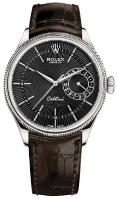 Rolex Cellini Date 39mm 50519 Black Brown Strap