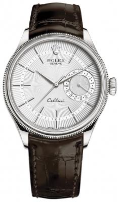 Rolex Cellini Date 39mm 50519 Silver Brown Strap