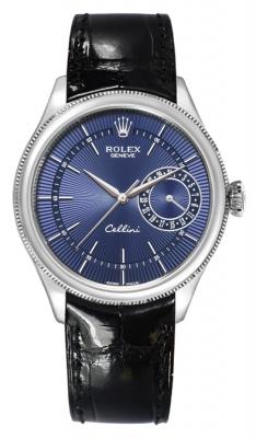 Rolex Cellini Date 39mm 50519 Blue Black Strap