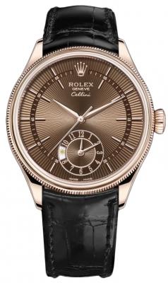 Rolex Cellini Dual Time 39mm 50525 Brown Black Strap