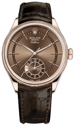Rolex Cellini Dual Time 39mm 50525 Brown Brown Strap