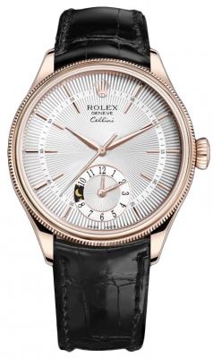 Rolex Cellini Dual Time 39mm 50525 Silver Black Strap