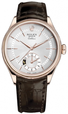 Rolex Cellini Dual Time 39mm 50525 Silver Brown Strap
