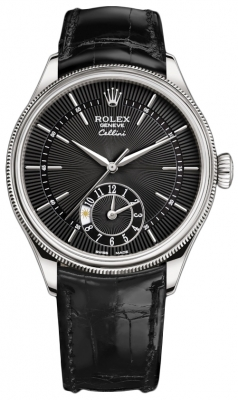 Rolex Cellini Dual Time 39mm 50529 Black Black Strap
