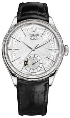 Rolex Cellini Dual Time 39mm 50529 Silver Black Strap