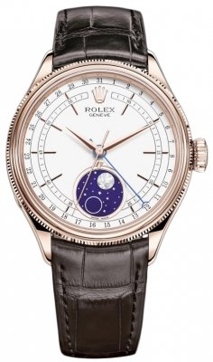 Rolex Cellini Moonphase 39mm 50535 White Brown Strap