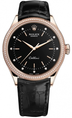 Rolex Cellini Time 39mm 50605rbr Black Diamond Black Strap