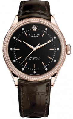 Rolex Cellini Time 39mm 50605rbr Black Diamond Brown Strap