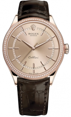 Rolex Cellini Time 39mm 50605rbr Pink Brown Strap