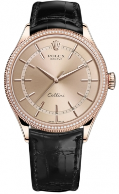 Rolex Cellini Time 39mm 50605rbr Pink Black Strap