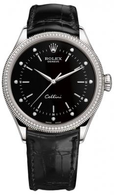 Rolex Cellini Time 39mm 50609rbr Black Diamond Black Strap